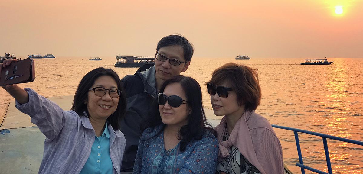 Sunset boat cruise at Kampong Pluk Tonle Sap Lake