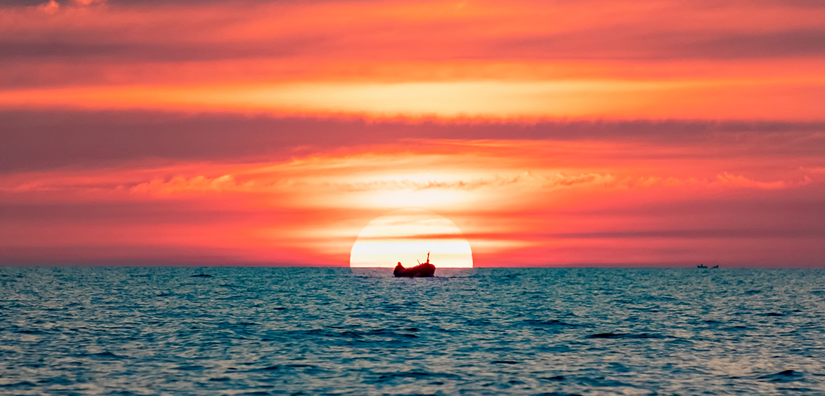 Stunning sunset one at Kampong Phluk of Tonle Sap Lake