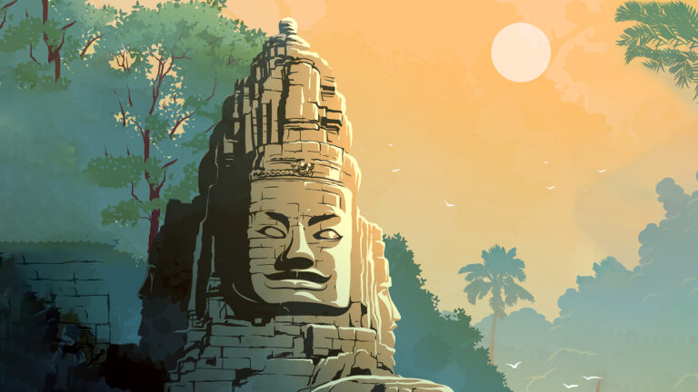 Buddha Temple in Angkor Wat, Cambodia. Vintage travel poster.